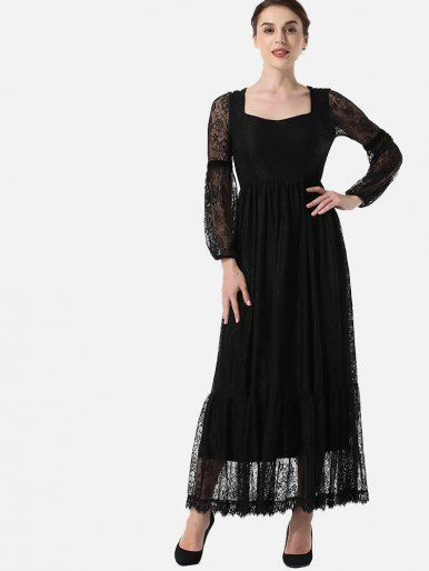 OneBling Bishop Sleeve Square Collar Peplum Lace Maxi Dress