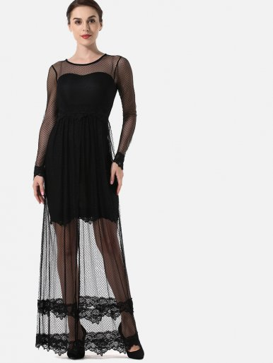 OneBling Sheer Dot Mesh High Split Maxi Dress with Tiered Lace Hem