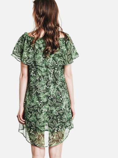 OneBling All Over Leaf Print Dip Hem Ruffles Off The Shoulder Dress