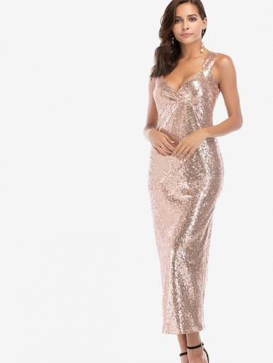 OneBling Plunge Neck All Over Sequins Maxi Tank Dress