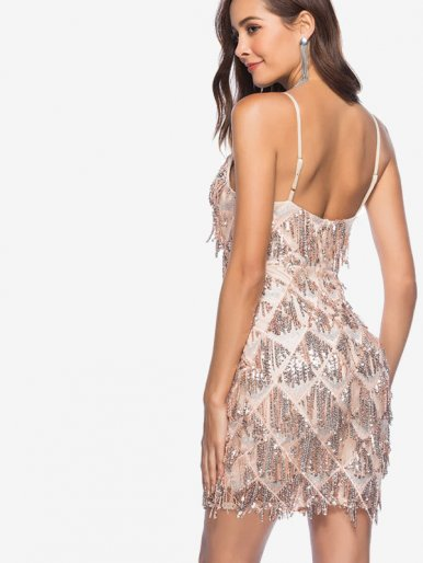 OneBling Zip-Back Sequins Geo-Embellished Cami Plunging Dress