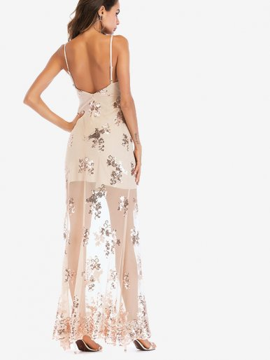 OneBling Open Back Sequins Embroidery Sheer Mesh Maxi Cami Dress