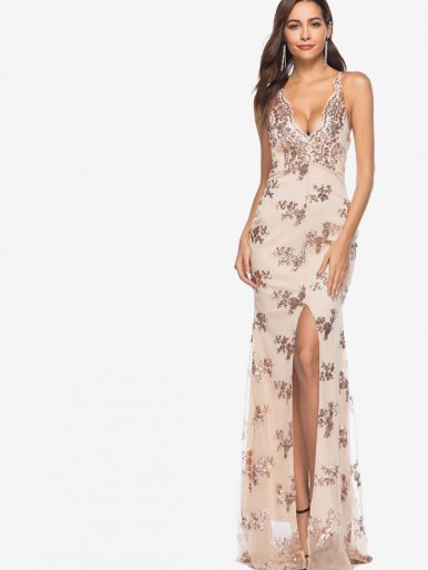 OneBling Cross Tie Back Sequins Embrellished Split Front Maxi Plunging Dress