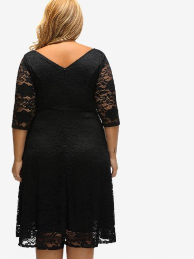 OneBling Plus Size Jacquard Lace Midi Dress with Scoop Neck