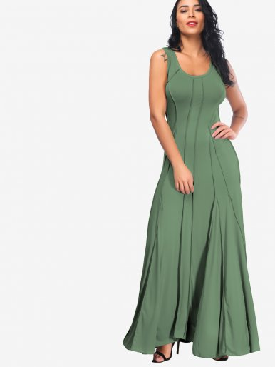OneBling Plus Size Scoop Neck Sleeveless Maxi Swing Dress
