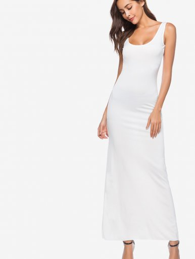OneBling Plus Size Scoop Neck Maxi Tank Dress