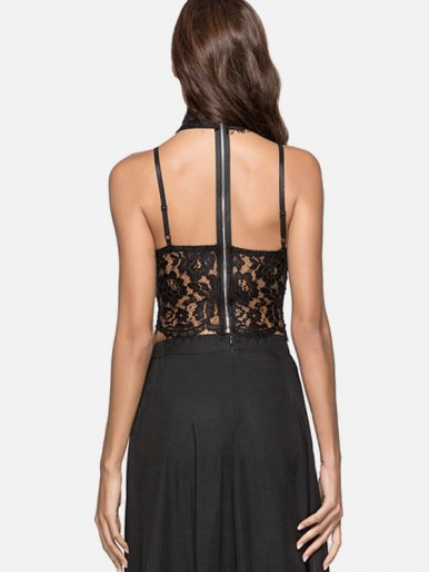 OneBling Cut Out Back Eyelash Lace Trim Choker Neck Crop Tops
