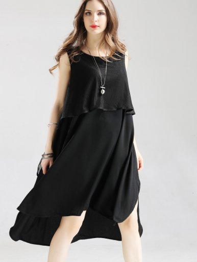 OneBling Mesh Layer Slit Side High Low Hem Midi Tank Dress