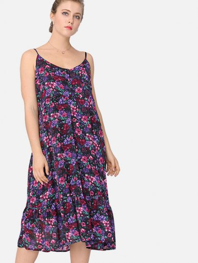 OneBling Plus Size Peplum Hem Calico Print Midi Cami Dress