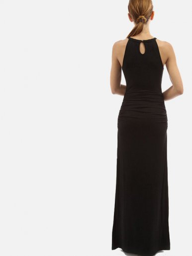 OneBling Keyhole Back Cutout Front Ruched Detail Slit Side Maxi Dress