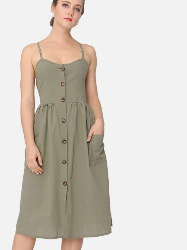 OneBling Shirred Back Button Front Midi Cami Dress with Pockets Detail