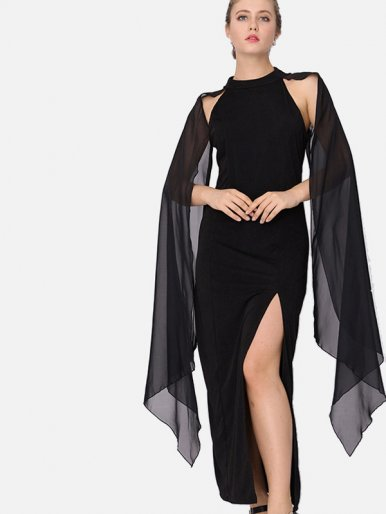OneBling Split Front Mock Neck Maxi Dress with Chiffon Cape Sleeves Detail