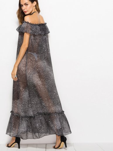 OneBling Ruffles Layer and Hem Maxi Off Shoulder Dress with Sheer Fabric and Printed