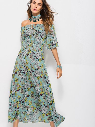 OneBling Flare Sleeve Printed Midi Off Shoulder Dress with Pephem