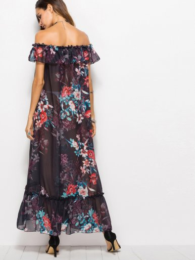OneBling Off Shoulder Frill Maxi Dress with Pephem and Spot Floral Print
