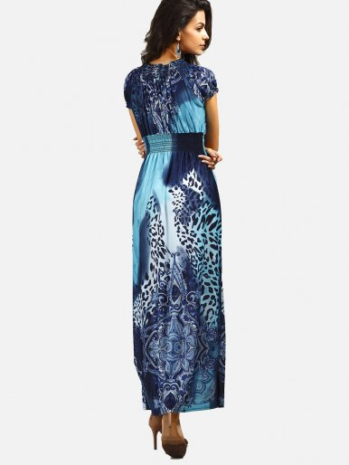 OneBling Printed Elastic High Waist Boho Dress