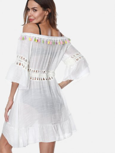 OneBling Braided Insert Ruffles Hem Off Shoulder Beach Dress with Pom Poms