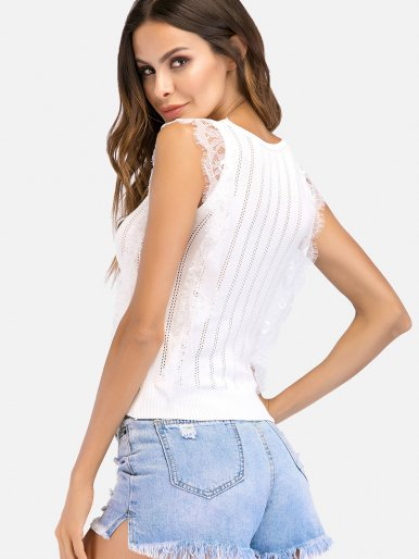 OneBling Lace Trim Scalloped Edge Textured Striped Crop Tanks