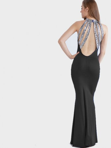 OneBling Sequins Strappy Back Sleeveless Maxi Fishtail Dress