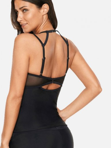 OneBling Strappy Back Tassles Embellished Mesh Insert Tankini Tops
