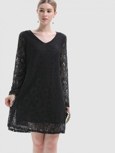 OneBling All Over Lace Midi Dress with V-Neck and Bell Sleeve