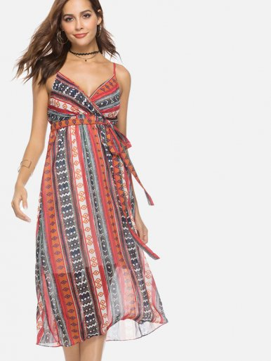 OneBling Geometric Striped Print Wrap Front Midi Cami Dress