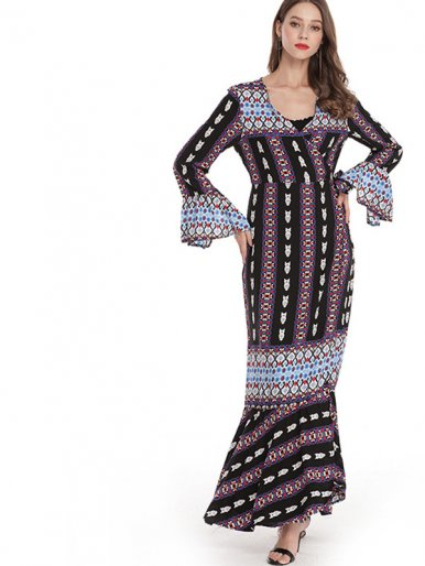 OneBling Fluted Sleeve Wrap Front Pephem Maxi Dress with Tribal striped Print