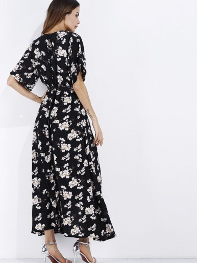 OneBling Blossom Print Batwing Sleeve Maxi Wrap Dress