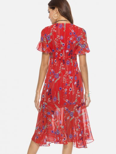 OneBling Asymmetric Ruffles Hem Fluted Sleeve Wrap Front Floral Print Dress