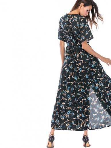 OneBling Batwing Sleeve Wrap Front Maxi Dress In Flame Print