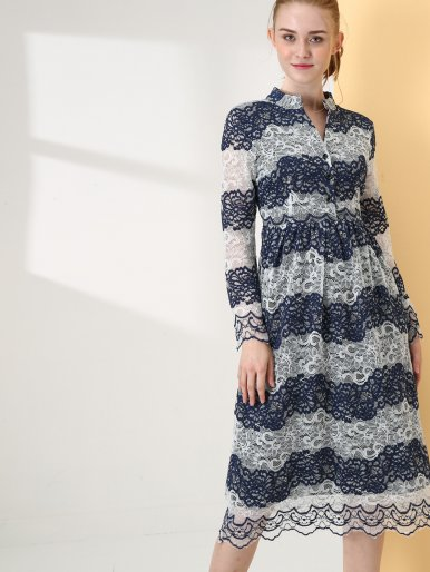 OneBling Mock Neck Button Front Long Sleeve Jacquard Lace Striped Midi Dress