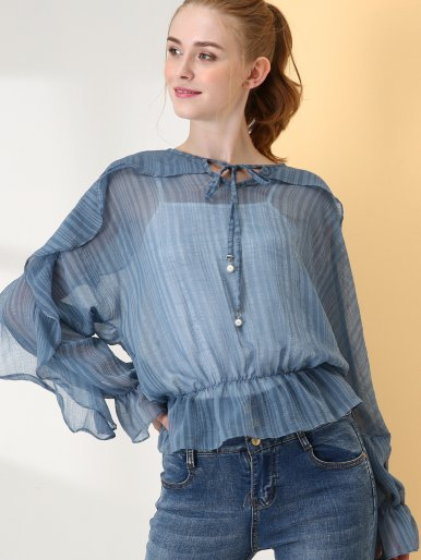Ruffles Embellished Batwing Sleeve Tie Front 2 In 1 Striped Blouses