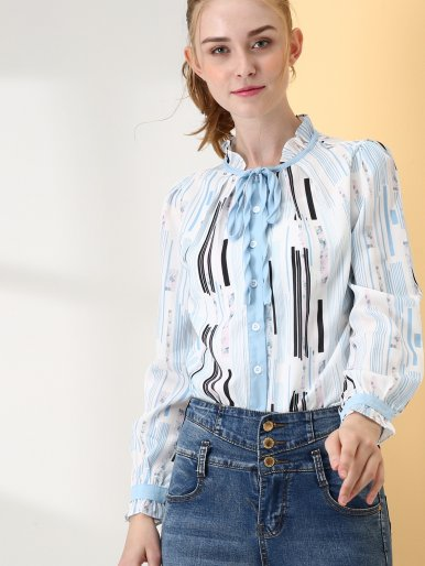 OneBling Frill Tie Neck Fold Pleated Detail Floral and Striped Print Blouses