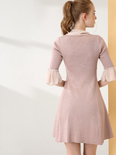 OneBling Chiffon Cuff and Tie Neck Fluted Sleeve Rib Knit Dress