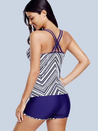 OneBling Striped Print Swimwears Bow Front Double Straps Tops and Shorts