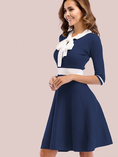 OneBling Half Sleeve Bow Tie Neck Contrast Knit Fit and Flare Dress