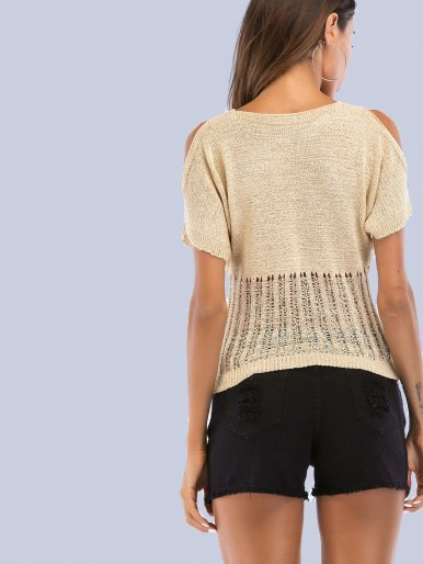 OneBling Open Shoulder V-Neck Open Knit Hem Tees