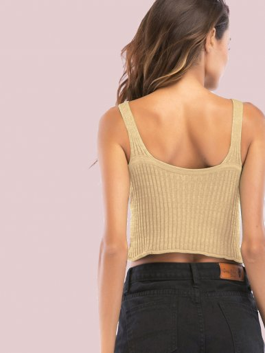 OneBling U-Back Rib Knit Crop Tops with Pointelle Detail