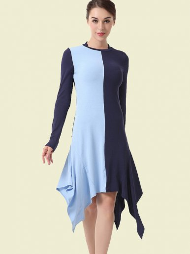 OneBling Long Sleeve Symmetrical Hanky Hem Two Tone Midi Dress