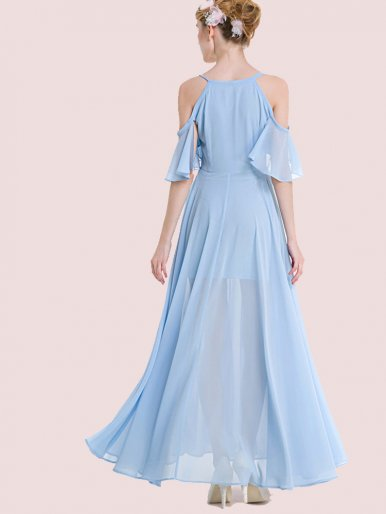 OneBling Flutter Cold Shoulder Sleeve Swing Maxi Dress