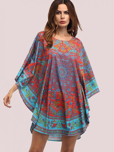 OneBling Printing Boho Beach Dress Batwing Sleeve Loose Cloak Dress
