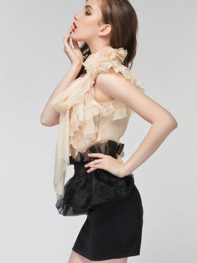 OneBling 3D Floral Turtleneck Ruffles Layered Flutter Sleeve Blouses with Bow Tie