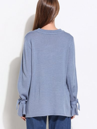 OneBling Plus Size Split Tie Sleeve Stepped Hem Loose Knit Jumper