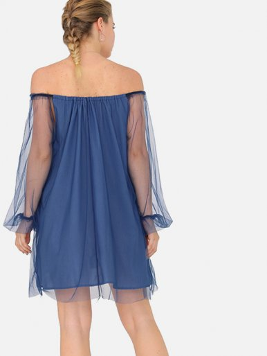 OneBling Mesh Overlay Mini Off Shoulder Dress with Ballon Sleeves