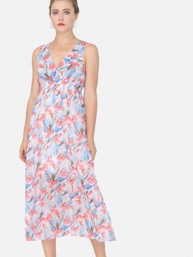 OneBling Shirred Waist Midi Wrap Dress In Floral Print