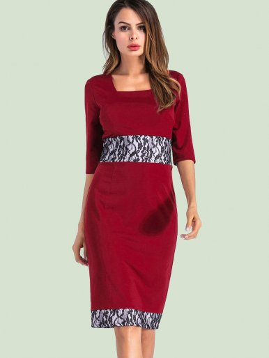 OneBling Square Collar Business Sheath Bodycon Dress