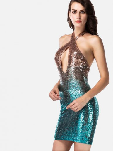 OneBling Cross Front Halter Neck Two Tone Sequins Bodycon Mini Dress