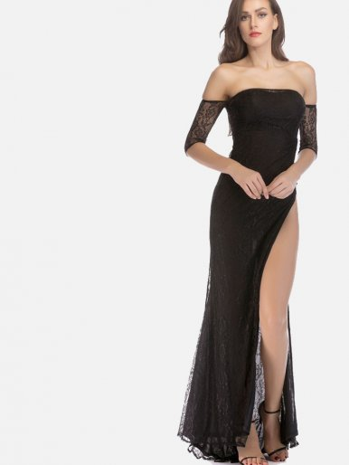 OneBling All Over Lace Split Side Off Shoulder Fishtail Maxi Dress