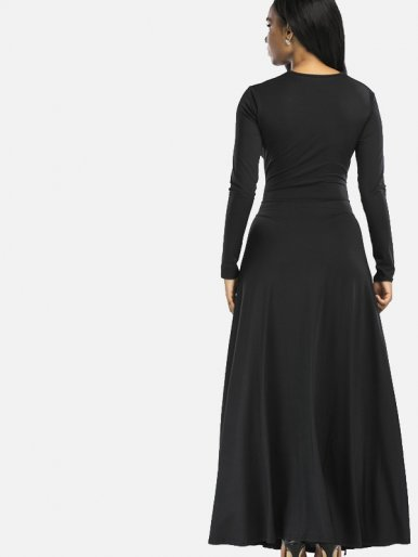 OneBling Long Sleeve Plunge Neck Maxi Dress with Double Split