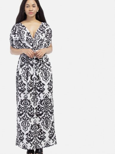 OneBling Plus Size Bohemian Print Gathered Sleeve Wrap Front Maxi Dress